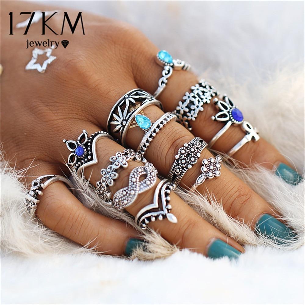 Женские винтажные кольца в стиле ретро, 17 км, набор колец с кристаллами вечерние богемные украшения с геометрическим узором 13 шт./компл.