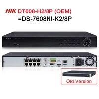 NVR DS 7608NI K2/8P=DT608 H2/P8 Hikvision OEM 8CH 8 POE NVR for POE Camera 8MP 4K 2 SATA Network Video Recorder