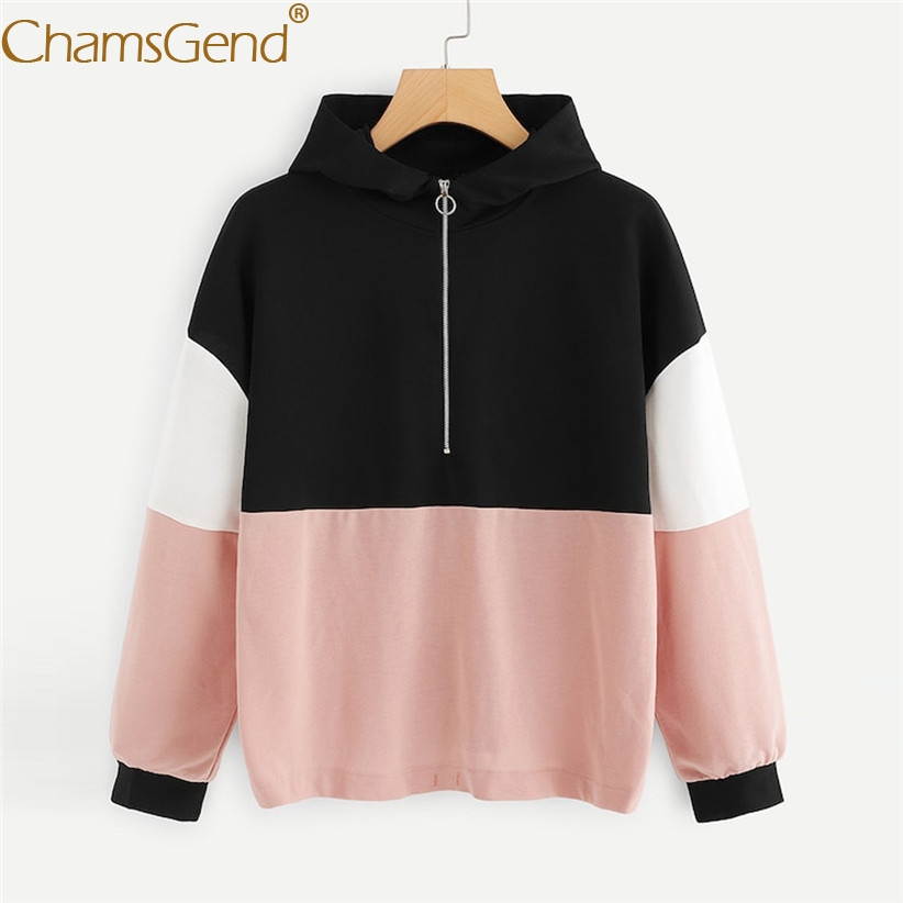 Lady Winter//Fall Hoodies Long Sleeves Zipper Round Collar Simple Loose New