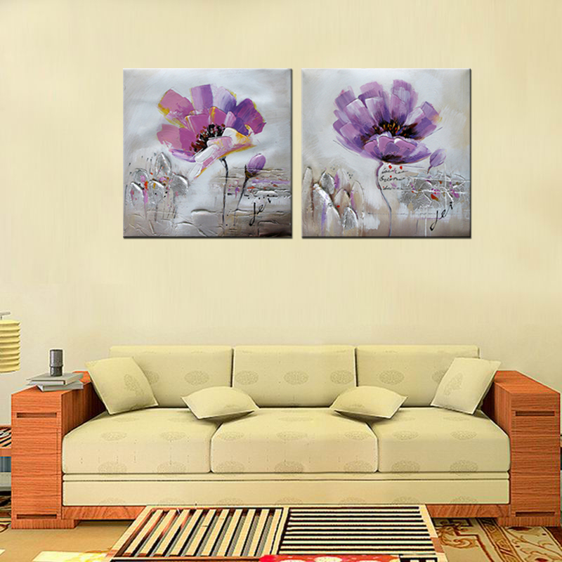 Handmade modern flower modular pictures wall painting - Oil painting ideas for living room ...