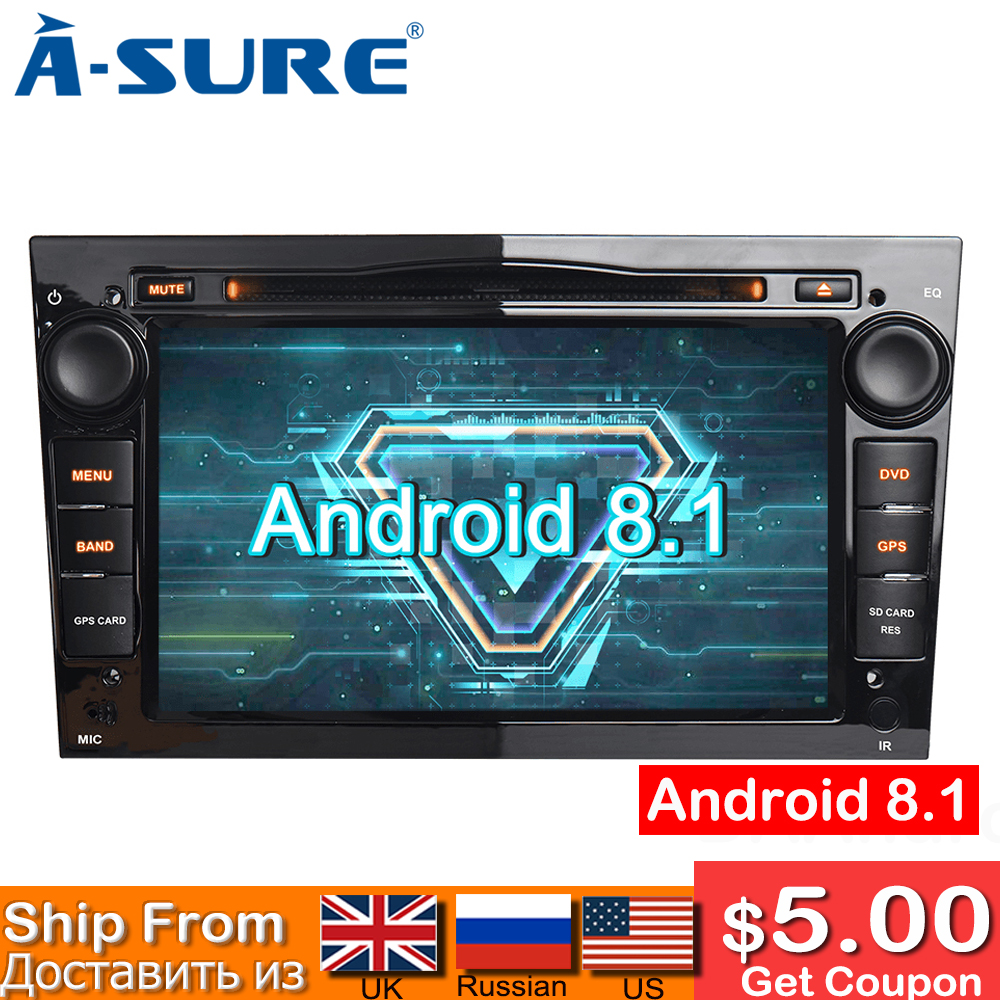 A-sure OreoCore Android 8.1 DVD GPS pour Vauxhall Opel Astra H G J Vectra Antara Zafira Corsa multimédia DAB OBD 4G WIFI TPMS