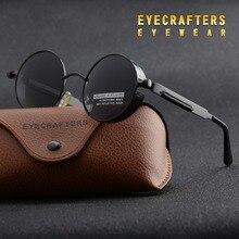 Gold Round Polarized Sunglasses Gothic Steampunk Sunglasses Mens Womens Fashion Retro Vintage Shield Glasses Eyewear Blue