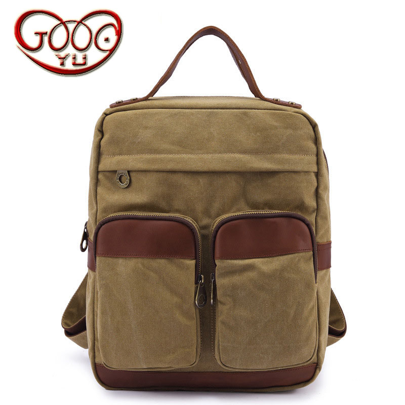 Korean casual unisex retro canvas shoulder bag Large capacity lightening solid color zipper backpack retro style two front pockets laptop compartment vintage canvas solid color backpack
