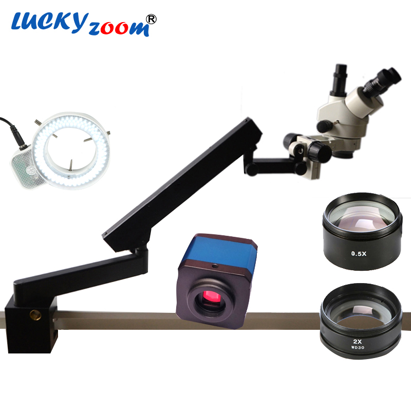 Lucky Zoom Brand 3.5X-90X Trinocular Articulating Arm Pillar Clamp 144-LED Stereo Zoom Microscope+14MP HDMI Microscope Camera  lucky zoom brand strong darticulating arm pillar clamp stand for stereo microscopes microscope accessories free shipping