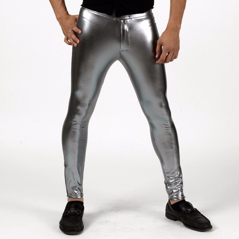 Speerise Men Shiny Lycra Mid Waist Leggings Metallic Spandex Full Length Man Meggings Leggings Tights for Guys