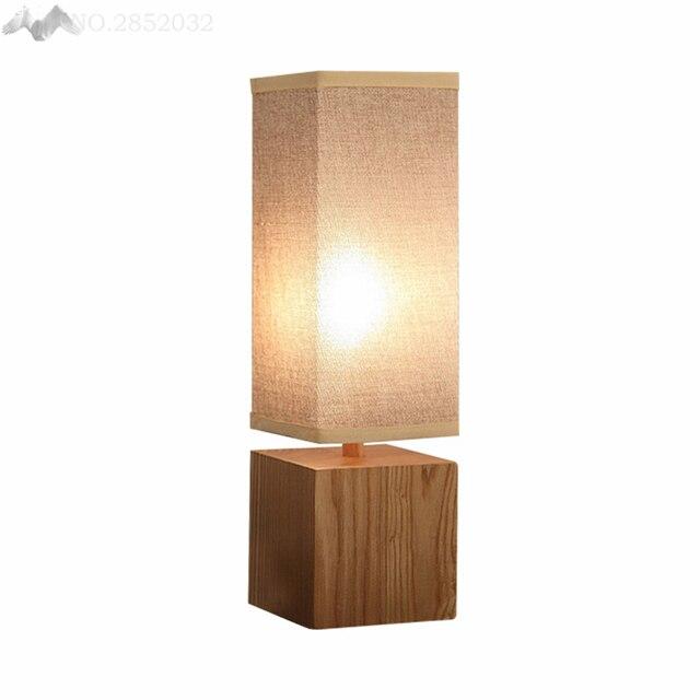 Lfh Vintage Modern Art Deco Desk Lamp Bedroom Living Room Cafe Solid Wood Table
