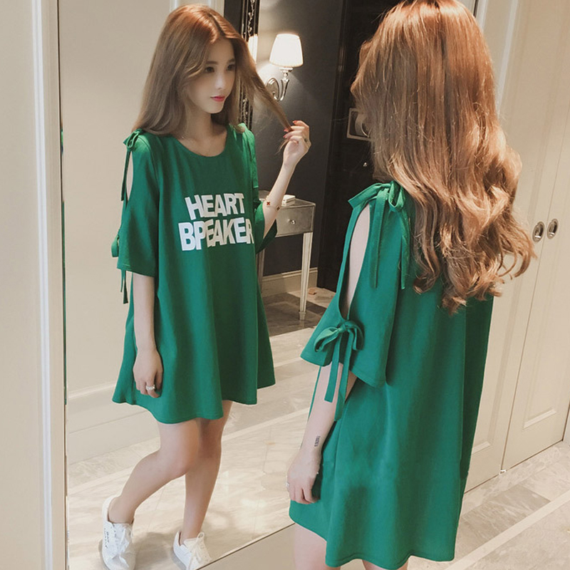 Pregnant Woman Dress New Summer Cotton Loose Comfortable Casual T-shirt Dress Five Sleeves Bare Shoulder Maternity Clothes