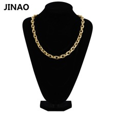 JINAO New Custom Hip Hop Micro Pave Zircon Men Chain 18inch 12mm Gold Twisted and Oval Link Chain Necklac for Women Male