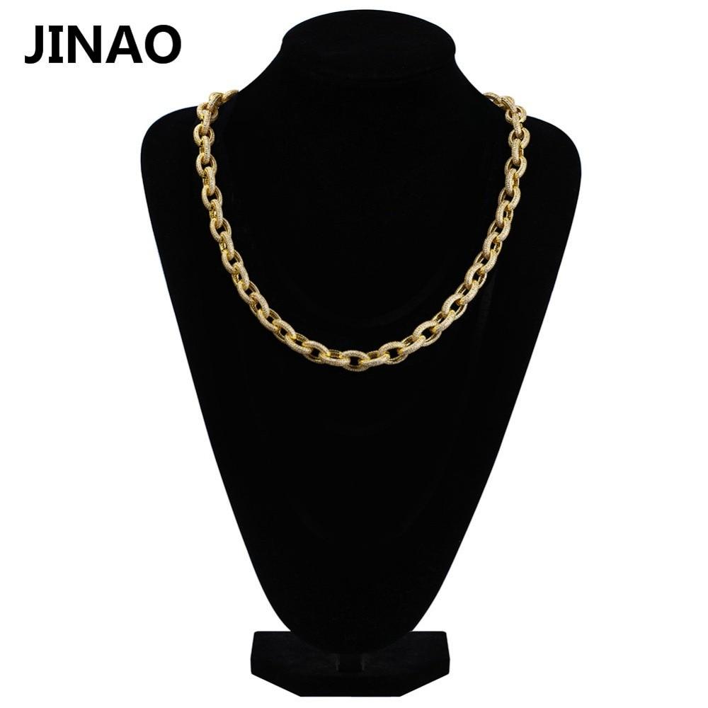 JINAO nouveau personnalisé Hip Hop Micro Pave Zircon hommes chaîne 18 pouces 12mm or torsadé et ovale lien chaîne collier pour femmes homme