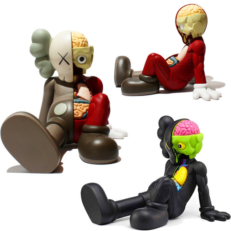 4 Colors Black/Red/Grey/Brown Originalfake KAWS Dissected Companion PVC Action Figure Sitting Styles Collectible Model Toy 28cm все цены