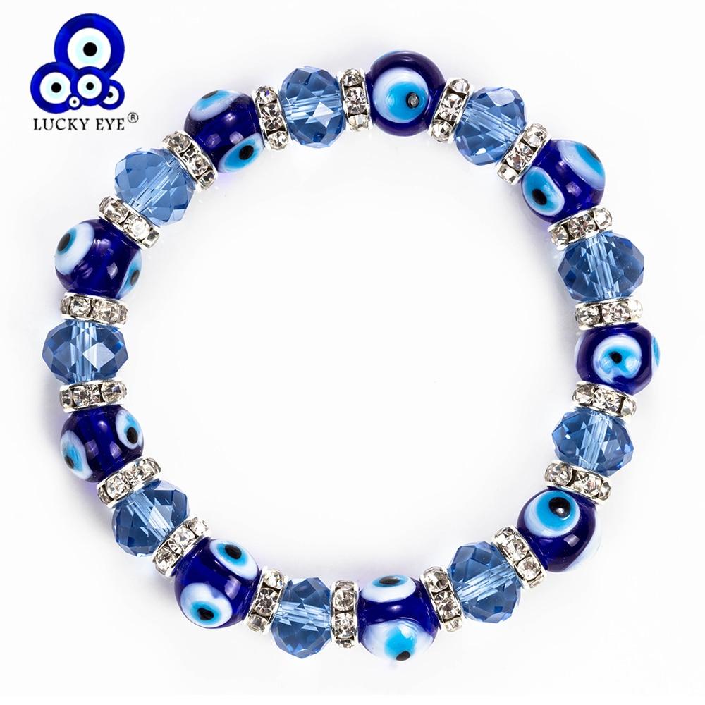 Женский и мужской браслет Lucky Eye, браслет из стекла с бусинами и кристаллами, регулируемый браслет EY5226