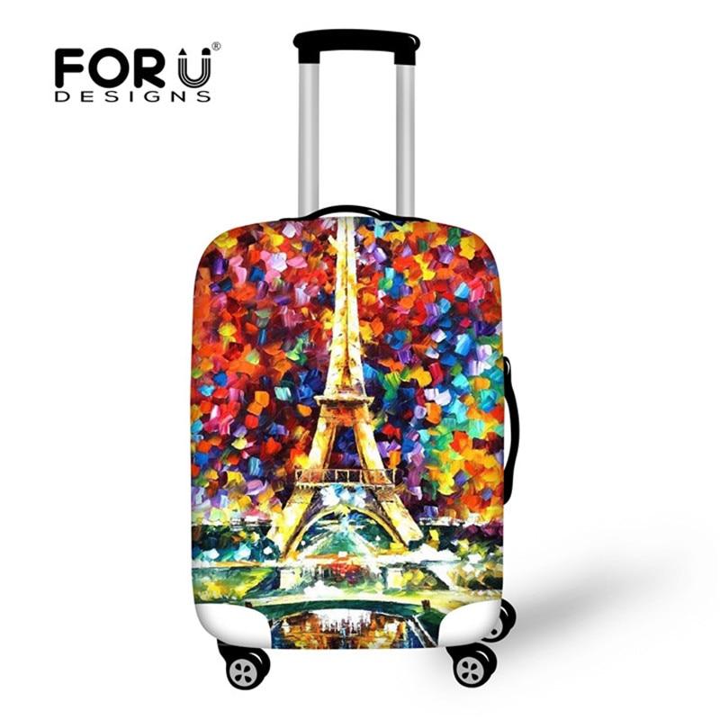 Acessórios de Viagem da Torre Eiffel, Capas de Proteção de Bagagem de Poeira Borboleta Impressão Mala Capa para 18-28 polegada Tronco Suit Caso