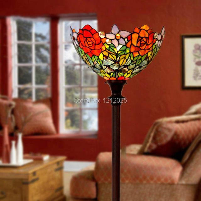 Gorgeous Tiffany Style Rose Floor Lamp Torchiere Light Living Room Bedroom Standing Uplighter Home Decorative Luminaria Vintage