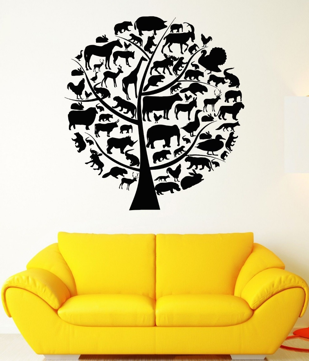 New Vinyl Wall Stickers Animal Tree Mural Home Decor Decals Tree Animal Nature Elephant Giraffe Mural Vinyl Decal GW-150