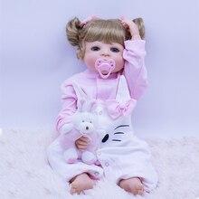 цена 55cm Non-toxic material Silicone Reborn Baby Doll For Girl Vinyl Newborn Princess Babies Bebes reborn Bathe Toy Birthday Gift онлайн в 2017 году