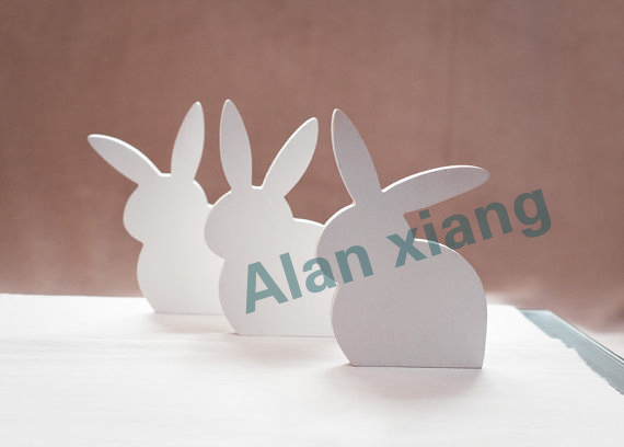 Free Shipping Wooden Bunny Set Of 3 Ester Spring Home Decor White Rabbit Bunnies China