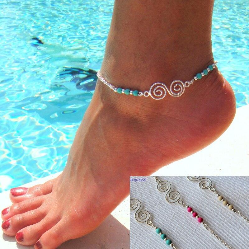 Bohemian Natural Turquoises Beaded Anklets Spiral Alloy Guru Anklet Chain Bracelets For Women Girls