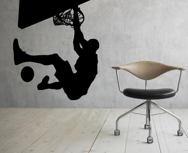 NBA Slam Dunk Basketball Sport WALL ART STICKER VINYL DECAL ROOM STENCIL REMOVABLE MURAL HOME OFFICE DORM DECOR