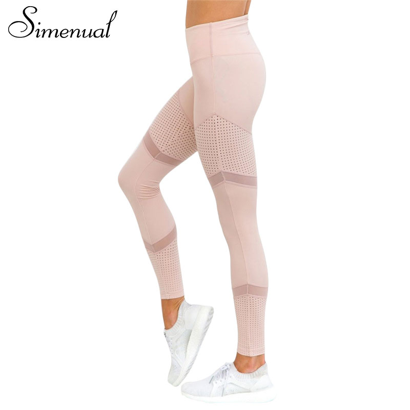 Simenual Patchwork mesh leggings für fitness 2018 bodybuilding slim sexy rosa legging sportbekleidung für frauen freizeitsport jeggings