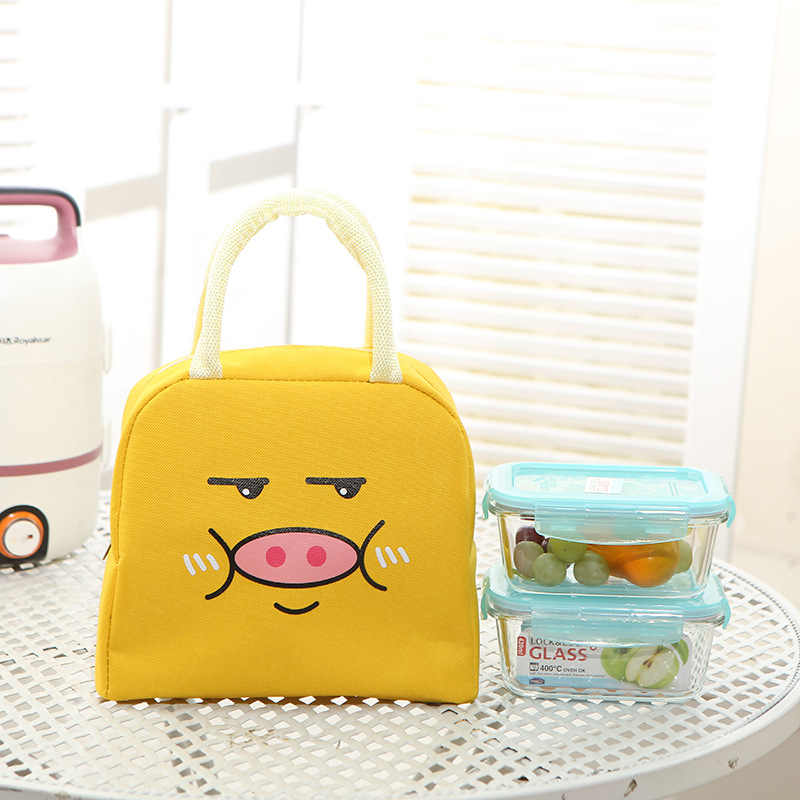 Cute Pig Portable Lunch Bag Thermal Insulated Lunch Box Tote Cooler Bag Bento Pouch Lunch Container Food Storage Bags For Girls