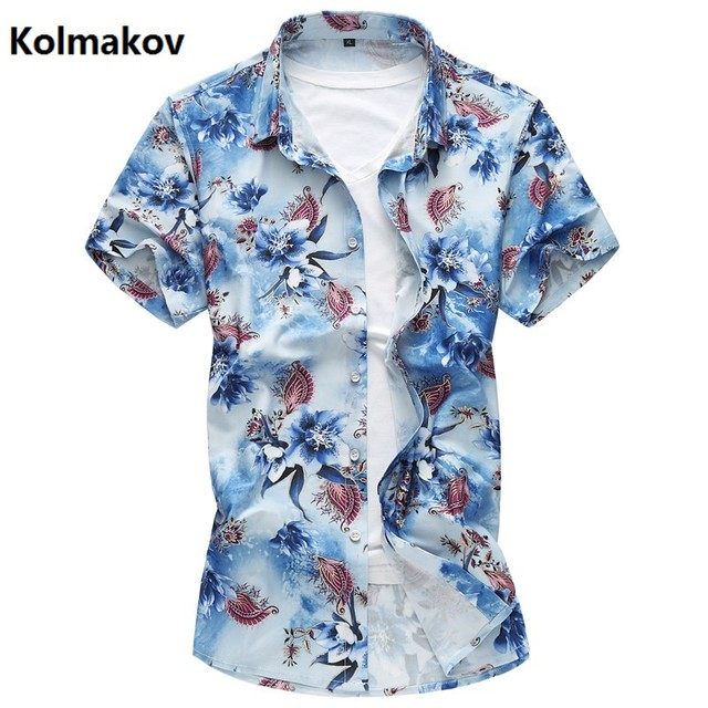 f9a3b617550 KOLMAKOV 2017 summer new style shirt men s casual short sleeves shirts men  Flower color cotton and silk shirts big size M-7XL