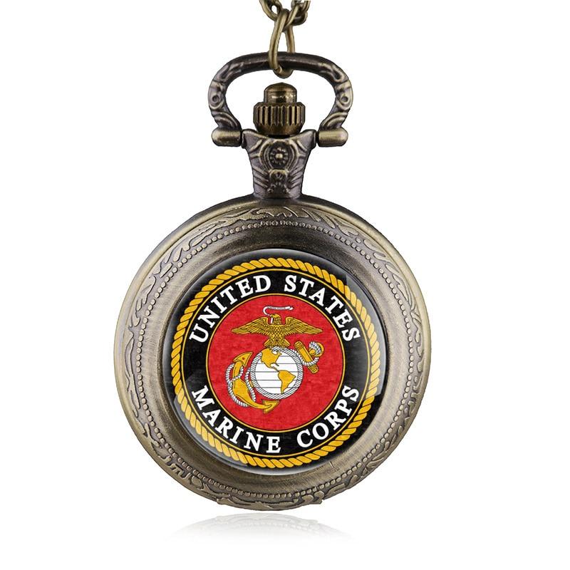 United States Marine Corps Quartz Pocket Watch Women Man Necklace Pendant With Chain Gifts Reloj De Bolsillo