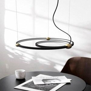 Image 4 - Luz Led colgante de diseño del norte de Europa, círculo creativo para Loft, luces colgantes para comedor, Retro, Hotel, Villa, Deco