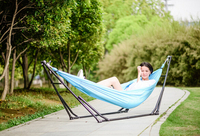 Imported elastic cloth outdoor hammock with stand,traveling garden camping portal swings, pink , blue , red color in stock