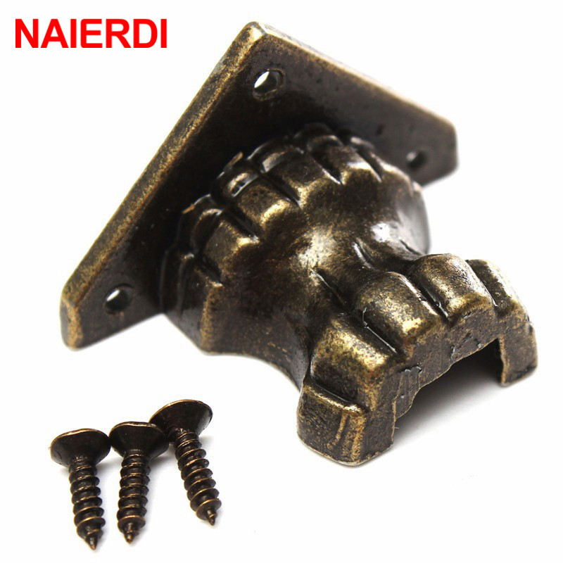 NAIERDI 4pcs Antique Brass Jewelry Chest Wood Box Decorative Feet Leg Corner Protector For Furniture Cabinet Protect Hardware
