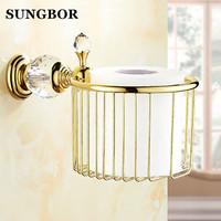 European Style Crystal Gold Brass Holder Paper Towels Basket Toilet Paper Holder Accessories For Bathroom SH 99907K