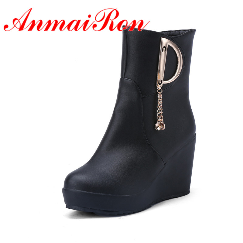 ANMAIRON New Arrivals Spring/Autumn Fashion Boots Round Toe Wedges Women Shoes Platform Mid-Calf Boots Soft Leather Shoes Women 2018 new superstar flock runway peep toe slip on fashion brand shoes wedges autumn spring lazy zipper mid calf boots for women