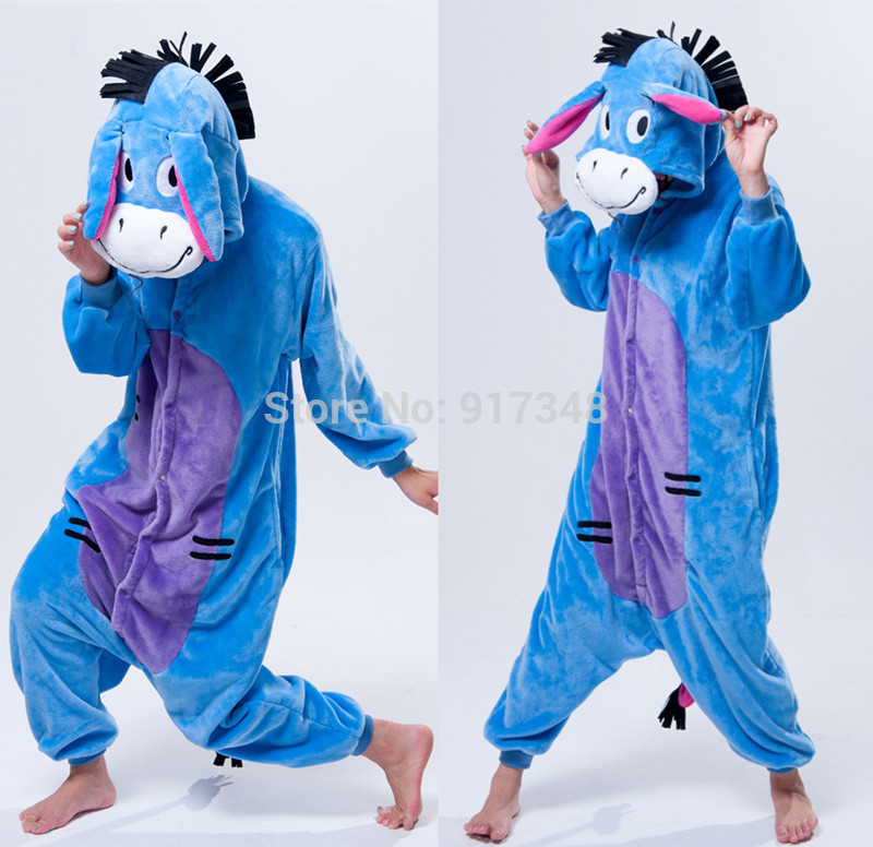 Cartoon Animal Cosplay Kigurumi Eeyore Donkey Onesies Pajamas Jumpsuit Hoodies Dospělí Cos Kostým pro Halloween a karneval