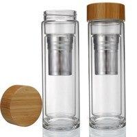 400 ml Tazas De Cristal de Doble Capa Cubierta de la Tapa De Bambú Té Vaso Transparente Botellas de Agua Tazas A Prueba de Fugas Colador de Té S2017309