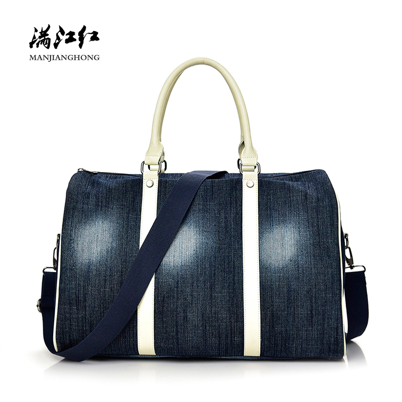 Fashion Denim Women Shoulder Travel Bags Large Capacity Casual Travel Tote Bag For Women Ladies Travel Duffel Luggage Bag 9005