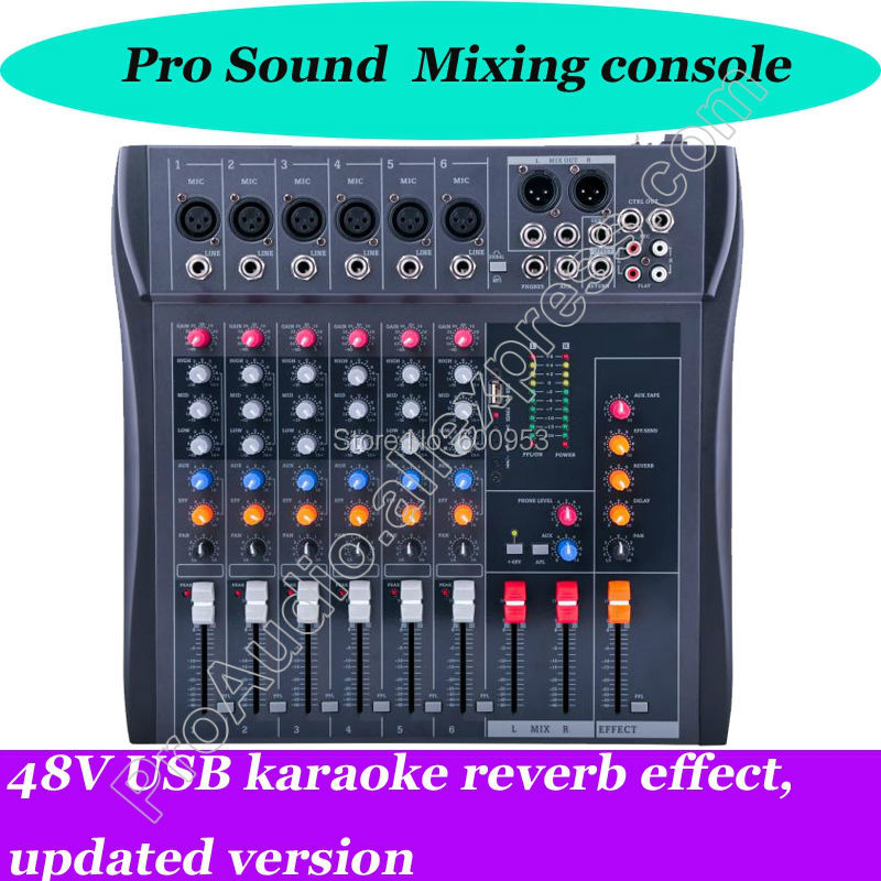 MICWL 6 Channel Karaoke Sound Mixing Console Mixer USB 48V reverb effect, updated version mini portable audio mixer with usb dj sound mixing console mp3 jack 4 channel karaoke 48v amplifier for karaoke ktv match party