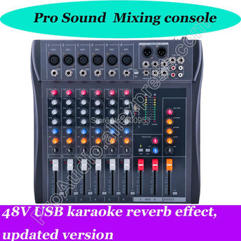 MICWL 6 Channel Karaoke Sound Mixing Console Mixer USB 48V reverb effect, updated version