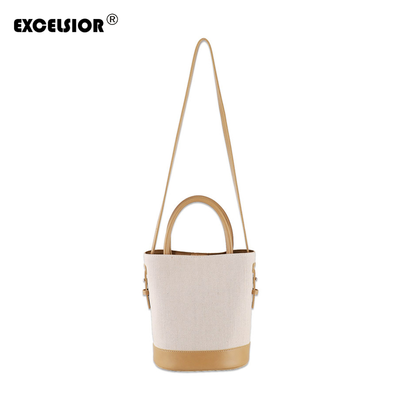 c438ead97693 EXCELSIOR New Patchwork Bucket Bag Canvas Beach Handbag Women's Shoulder  Weave Messenger Bag Portable Crossbody Bag Multi-use