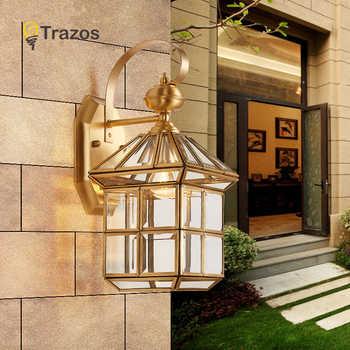 Full copper wall lamp European style retro garden lamp waterproof balcony wall light Corridor Courtyard Lamp - Category 🛒 Lights & Lighting