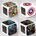 Marvel's The Avengers Alarm Night Light Clock Square LED Colorful Digital Electronic Clock America Anime Toys Small Gift #F