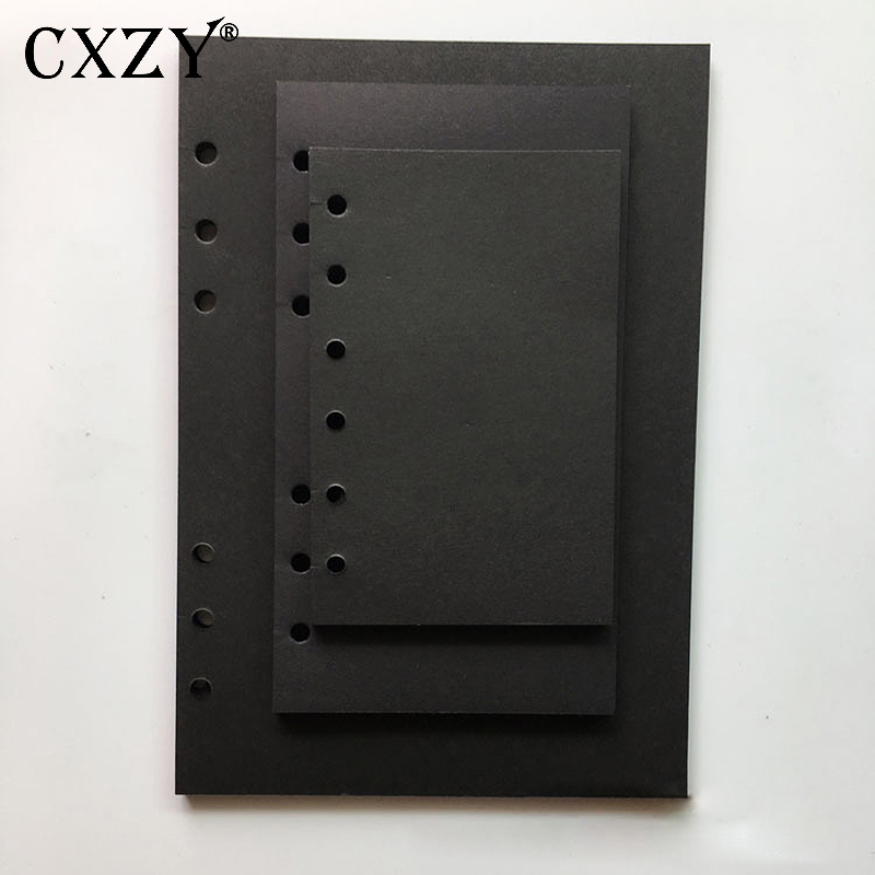 A5 A6 A7 Blank Black Paper Loose Leaf Notebook Spiral Inner Page Refill Note Book Journal Travel Planner Muji Style Dairy Diary