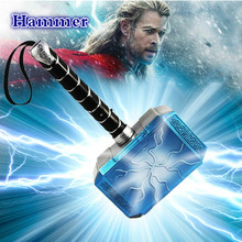 купить 2019 Hot Thor Hammer 31cm Luminous Voice Thor Hammer Cosplay Thor Thunder Figure Weapons Model PU Material Toy Kids Gift по цене 562.08 рублей