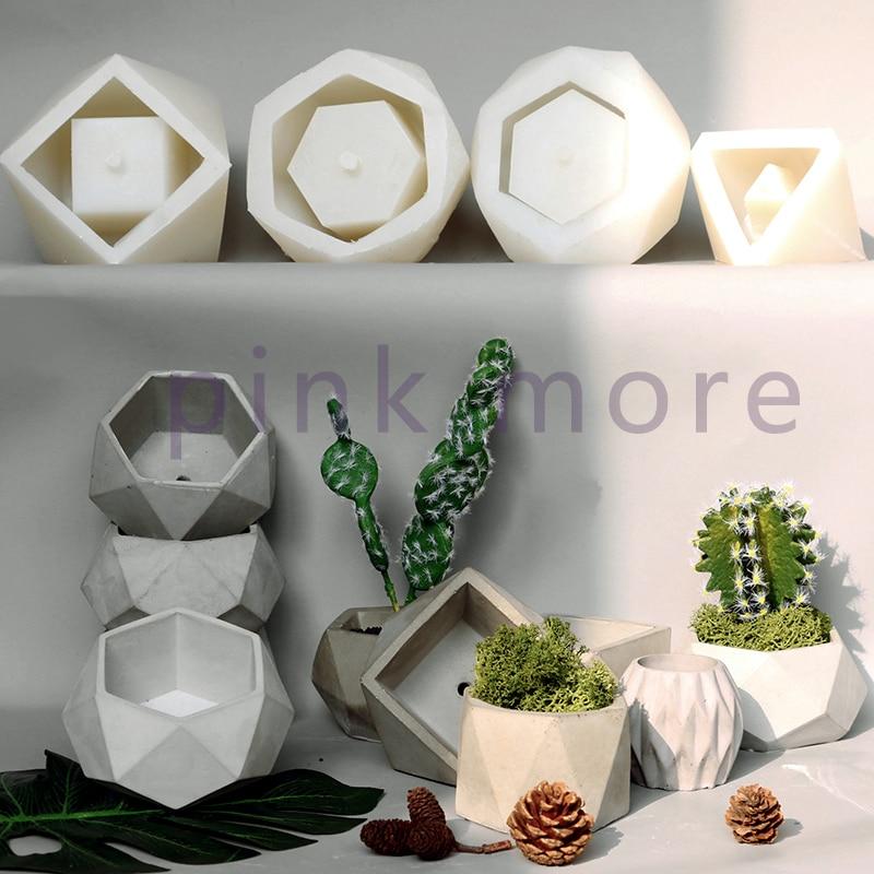 Geometric Concrete Flowerpot Silicone Mold Cement Garden Pot Mold  Succulent Flowerpot Mold Simple Geometric Gypsum Mold