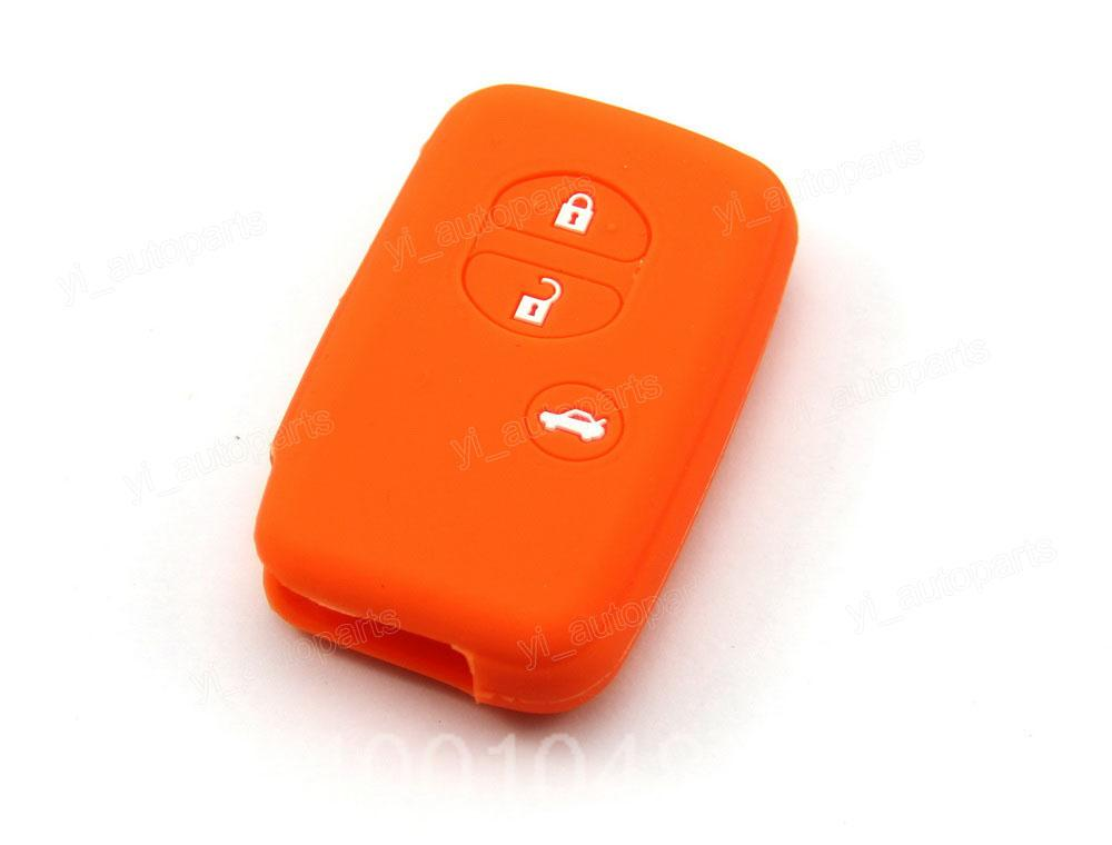Orange Silicone Case Cover Fit For Toyota Highlander Corolla Prius C V Venza Camry Prado Crown Reiz Remote Smart Key 3 Button