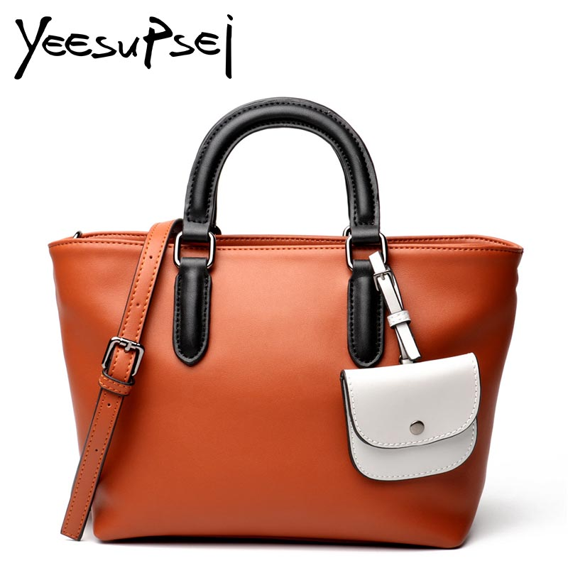 цены YeeSupSei Real Leather Bag Lady Hard Handle Handbag With Small Bag Women Shoulder Bag Solid Color Messenger Bag Female Soft Tote