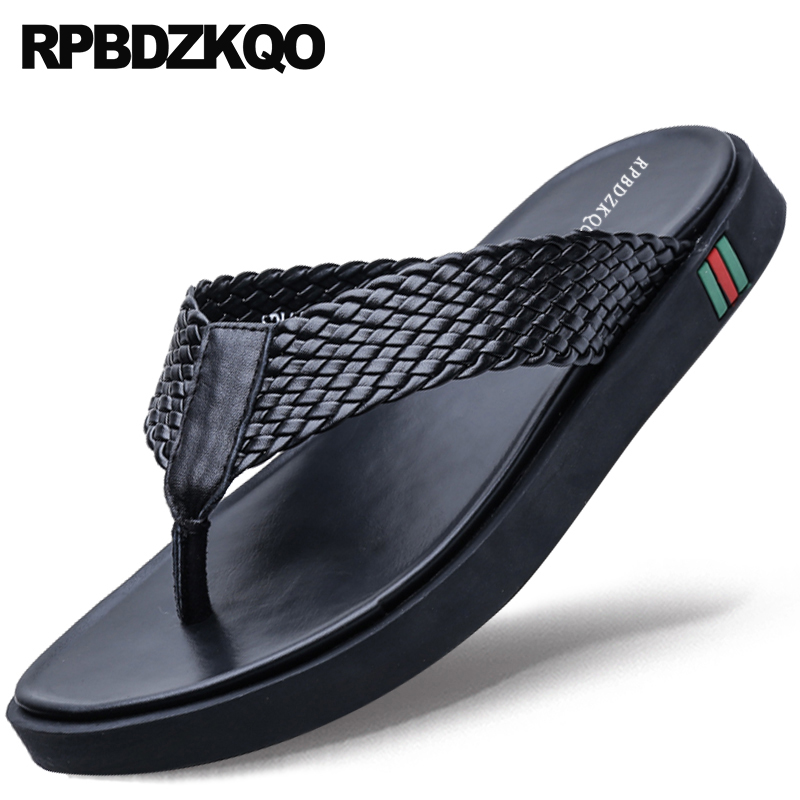 Genuine Leather Slippers Platform Slides Black Outdoor Designer Shoes Men High Quality Flip Flop Fashion Woven Beach SandalsGenuine Leather Slippers Platform Slides Black Outdoor Designer Shoes Men High Quality Flip Flop Fashion Woven Beach Sandals