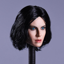 1/6 Kate Beckinsale Head Sculpt with Curly Black Short Hair and Blue Eyes for 12 Action Figure Bodies