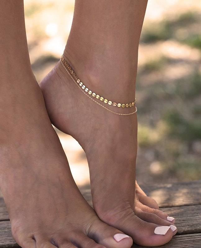 Gold Silver Color Double Ankle Chain Sequins Anklet Halhal 2020 Fashion Foot Jewelry Bracelet on The Leg Tobilleras 029 1