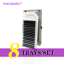 NAGARAKU  8 Trays/set  J B C D Curl  Length 7-15mm Mixed In One Tray Eyelash Extensions Individual Faux Mink Eyelash Lashes