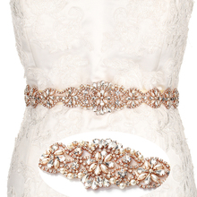 YANSTAR Bridal Rhinestone Wedding Belts Rose Gold Crystal Iron On Ribbons With Box For Bridal Gowns