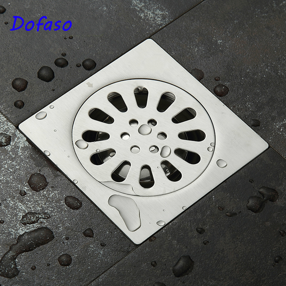 все цены на Dofaso bathroom shower drain waste floor drain Anti-odor Bathtub Shower Drainer Stainless Steel Square drainage Floor Drain онлайн
